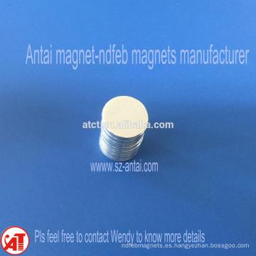 Dia.15x1.5mm N35 Zinc capa discos magnéticos
