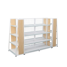 Steel And Wooden Display Shelves For Supermarket