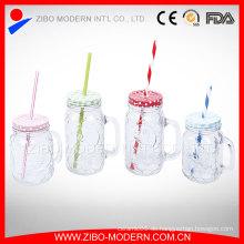 Geprägter klarer 16oz trinkender Maurer-Gläser-Becher Heißer Verkaufs-Großverkauf-Glas-Maurer-Gläser mit Stroh-Deckel