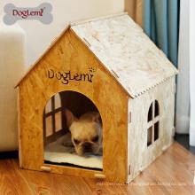 Lit de grotte de maison en bois de chat de chien de Chambre d'animal familier favorable à l'environnement