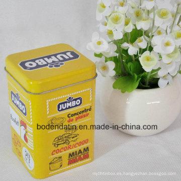 Personalizada de metal cuadrado de té caja de embalaje de hojalata con barniz de grado alimenticio