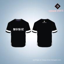 T-shirt de poliéster clássico do homem impresso personalizado costume fornecedor