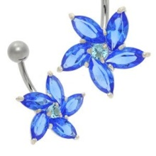 Crystal Belly Button Bar with Blue Daisy