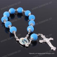 8 milímetros de borracha azul rodada grânulos pulseira de rosário