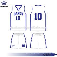 Ropa de baloncesto personalizada de corte y costura en blanco