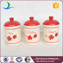 3pcs Cylinder Ceramic Canister For Food