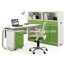 Combine stuff desk for office design, Beautiful pearl white + parrot green, Office desks furniture design (JO-5009-2)