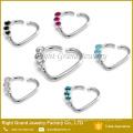 Brass CZ Gem Daith Heart Ring Ear Tragus Cartilage 16g Jewelry