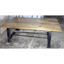 Industrial Vintage Cast Iron table with Mango Wood Top