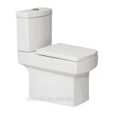 Color blanco cuadrado de dos piezas inodoro washtern cerámica inodoro