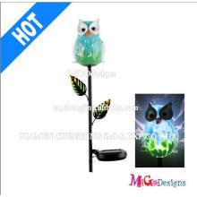 Estaca solar de luzes de jardim de coruja de metal e vidro
