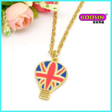 Manufacturer Custom Zinc Alloy Gold Enamel Pendant Necklace