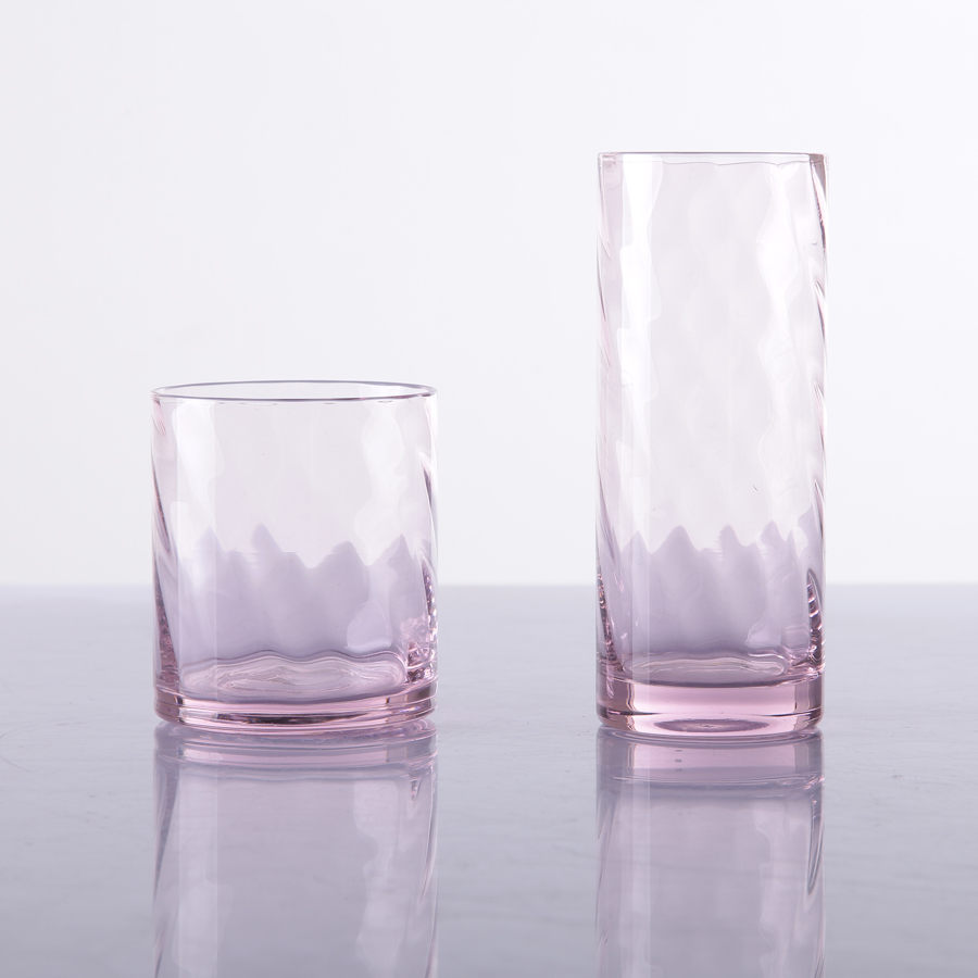 Br 9058 9059hand Blown Hb Pink Water Glasspink Drinking Glasses