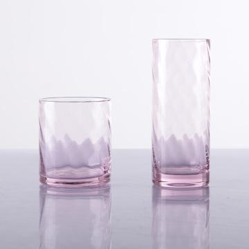 Verre à eau rose soufflé à la main HB rose