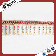 Hot Seller Red Polyster Beaded Fringe For Curtain Decorative Curtain Fringe Curtain Accessories