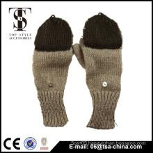 Long fingerless jacquard knit mitten, customize knit gloves