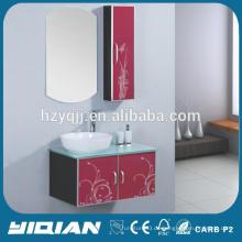 Glas-Arbeitsplatte Moderne Design Wandmontierte verspiegelte Waschtisch-Badezimmer-Einheiten
