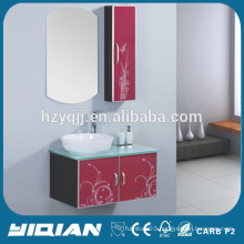Glass Countertop Modern Design Wall Mounted Mirrored Vanity Bathroom Units