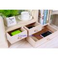 Organizador de madeira do Desktop do escritório com 3 gavetas e prateleiras múltiplas / cremalheiras para acessórios de mesa