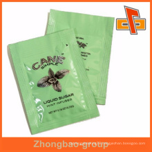 Mint color printing customise plastic pure cane sugar liquid flat bag