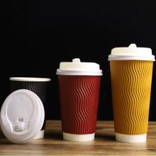 Benutzerdefinierter, hochwertiger Druck, personalisierte Einweg-Cappuccino-Espresso-Espresso-Heißgetränk-Papier-Kaffeetassen mit Deckel 16 oz