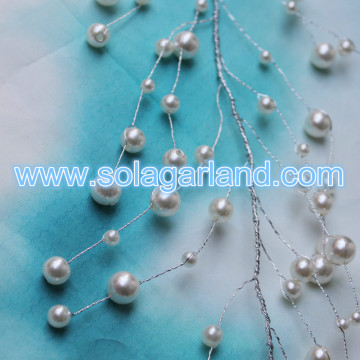 Silver Wire Acrylic Pearl Bead Branch Garland