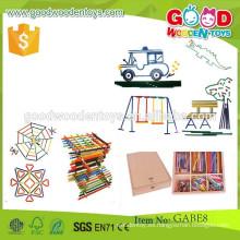 El gabe de la alta calidad pega los juguetes Los palillos coloridos del OEM juegan muchos diversos palillos de madera del tamaño juega