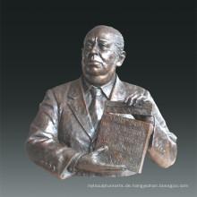 Große Figur Statue Filmregisseur Alfred Hitchcock Bronze Skulptur Tpls-079