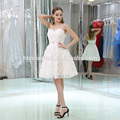 Ivory strapless Lace Evening Dress Fashion short-length Ball Dress