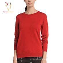 Suéter del suéter de la cachemira de las lanas de las señoras de la moda con la decoración