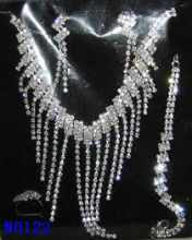 Costume Jewelry Crystal Silver Plated Charm Wedding Necklace And Earring Sets