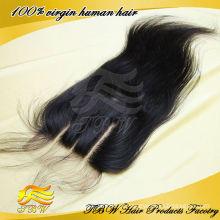 Qingdao fábrica cabelo humano brasileiro virgem 4 * 4 polegadas 3 way parte fechamento do laço suíço