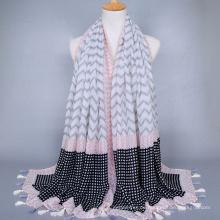 Heißer Verkäufer für Marktwellenmustertroddelvoile stahl arabischen hijab Schalschal-Großverkaufporzellan