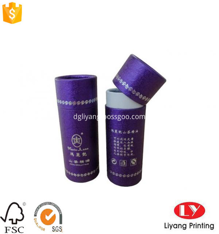 purple cardboard gift box round packaging box with silver stamping