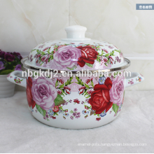 russian enamel cookware with full flower decal