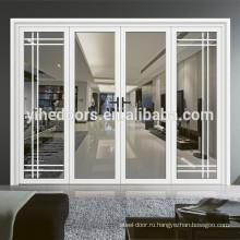 Белая алюминиевая дверная рама деревянная решетка стеклянная дверь