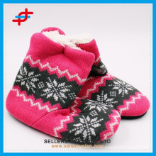 Ladies jacquard winter home indoor shoes/indoor boot/home boot factory