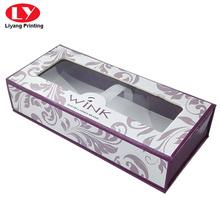 boîte d'emballage de cils en carton magnétique avec fenêtre transparente