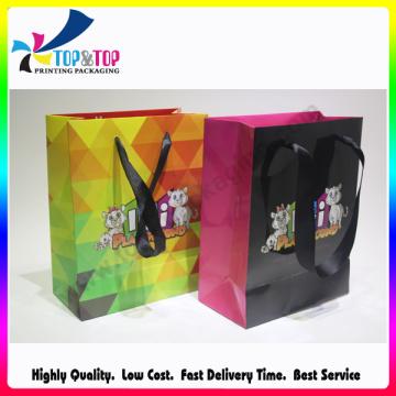 Shenzhen saco de compras de papel impresso personalizado dobrável