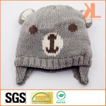 100% акриловая трикотажная медвежья шляпа для младенцев
