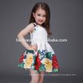 Vestido sin mangas floral de la muchacha de los niños de 2017 de la venta caliente vestido impreso del verano del bebé del algodón