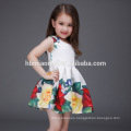 2017 hot sell sleeveless floral children girl dress printed cotton baby girl summer dress