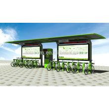 TCP-1 refugio para bicicletas con publicidad