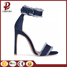 simple fashion high heels denim fabric sandals