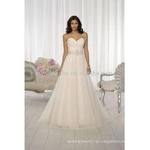 Beliebte 2014 Sweetheart Backless A-Line Brautkleid Kleider Mit Cris-Cross Falten Perlen Kristall Schärpe Accent NB019