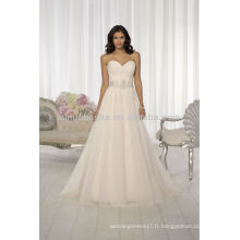Robes de mariée populaires en 2014 Sweetheart Backless A-Line avec perles plissées Cris-Cross Crystal Sash Accent NB019