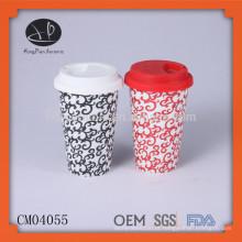 Caneca de café cerâmica sem alça, caneca de café com tampa de silicone