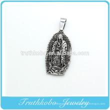 De alta qualidade 316l aço inoxidável esmalte preto Virgem Maria pingentes de colar de medalhão 1830