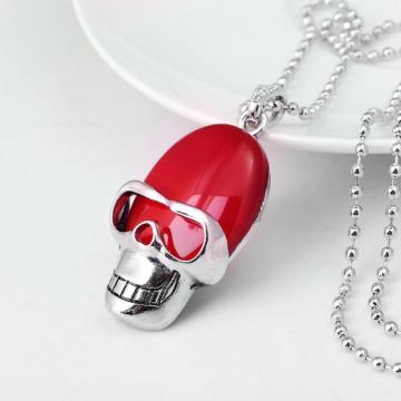 Red Carnelian Skull Gemstone Pendant Necklace with Silver Chain
