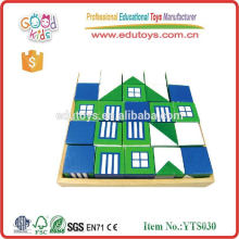 Child Wooden Educational Building Blocks House Design Blocks with Tray Toys Intellect